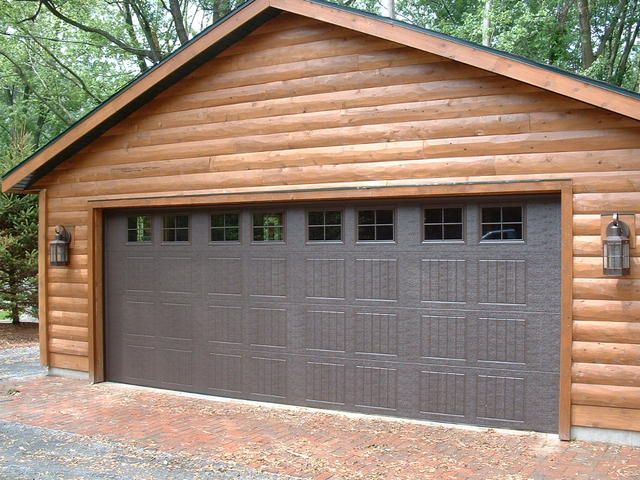 Wide Brown Garage Door