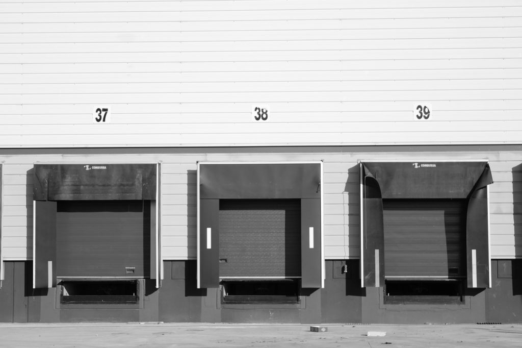 Commercial loading dock with three bays